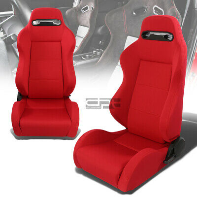 Full Reclinable Driver/passenger Jdm Type-R Red Canvas/cloth Bucket Racing Seats