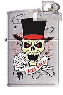 Zippo 8899 skull aces high chrome Lighter with PIPE INSERT PL