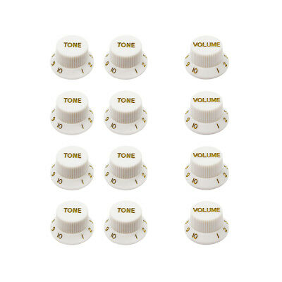 New Set White Guitar Knobs 8pcs Tone & 4pcs Volume Knobs for Strat Style Guitar