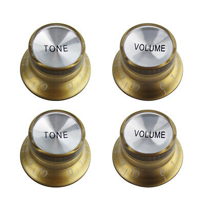 NEW Gold Brown 2 Volume and 2 Tone Guitar Knobs Top Hat for SG/LP Style Guitar