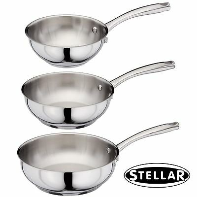 Stellar Speciality Stainless Steel Chefs Pan for ALL Hobs: 16cm, 20cm or 24cm