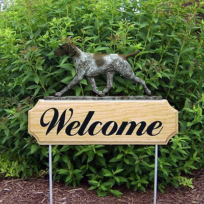 German Shorthair Pointer Oak Wood Welcome Outdoor Yard Sign