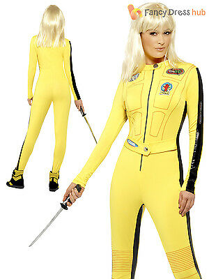 Ladies Kill Bill Costume Uma Thurman Fancy Dress Halloween Superhero Villian