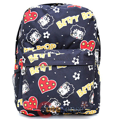 """Betty Boop School Backpack All Over Print 16"""" Large Book Bag  Black Hearts"""