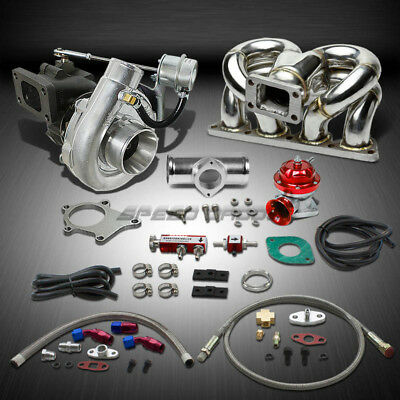 T04 .63Ar 400+Hp Boost 8Pc Turbo Charger+Ram Horn Manifold Kit For Honda D15/d16