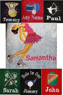 Personalised Embroidery Skating, Snooker, Basketball, Archery, Bowls, Golf Towel