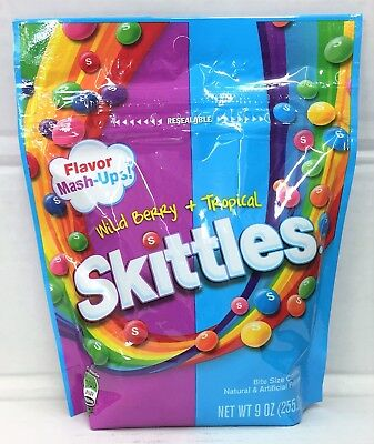 Skittles Flavor Mash Ups Wild Berry & Tropical Chewy Fruity Bite Size Candies