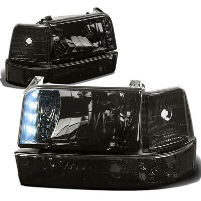 Fit 92-96 Ford F150/F250/350/Bronco Smoked Led Drl Headlight+Bumper+Clear Corner