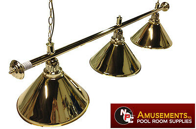 QUALITY Pool Snooker Billiard Table Light Brass with 3 x Brass Shades 1.5m