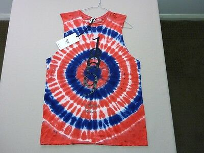 105 Womens Ex-Cond Lee Red / White / Blue Tie Dye Sleeveless Top Sze 10 $60 Rrp.
