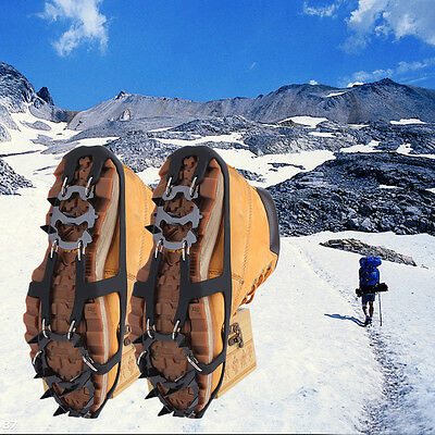 Ice Snow Climbing Anti-slip Shoe Covers Spike Cleats Crampons 18 Teeth M/L UR