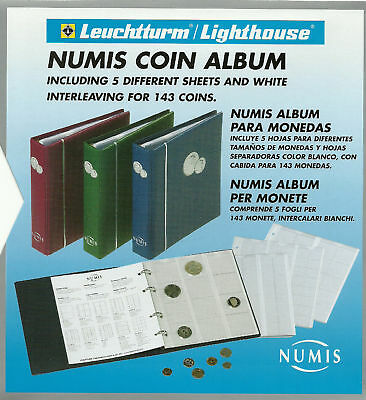 LIGHTHOUSE NUMIS BLUE COIN ALBUM + 5 different size Pages - holds 143 COINS