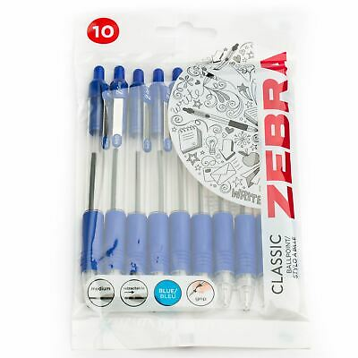 Zebra Z-Grip Retractable Ballpoint Pens 1.0mm - Blue Ink - Pack of 10