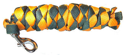 2m polypropylene lead rope/rein with replaceable clip - green & orange Trendco