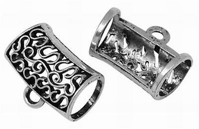 LARGE BAIL FOR SCARF PENDANT - ANTIQUED SILVER PLATED  - 33mm.............F723 *