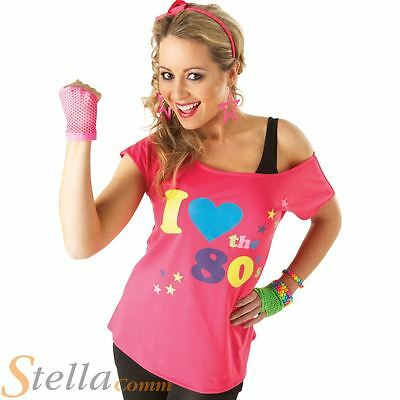 Ladies I Love The 80s T-Shirt Fancy Dress Costume Neon Festival Womens Outfit