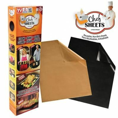 2 X Chef Sheets Reusable Non Stick Cooking Liner Oven Microwave Grill Baking Mat