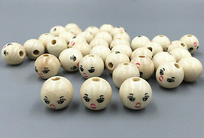 FREE 20PCS Wooden Round Painted Smile Face Loose Beads CRAFT BEADS 14mm