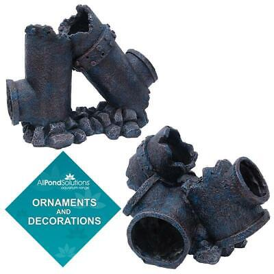 Aquarium Fish Tank Ornament Pipe Waste Outflow Broken Ruined Decoration Feature