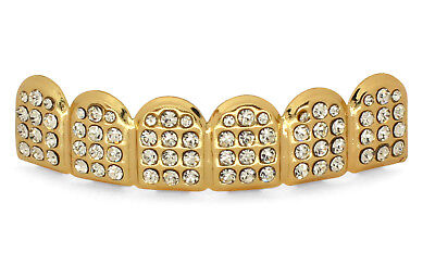 Icy 14Kt 72 AAA CZ Gold Plated Grill Custom Grillz 6 Top Teeth Hip Hop Mouth