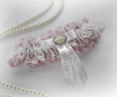 Boxed LIGHT IVORY CHAMPAGNE NUDE LACE WEDDING  BRIDAL PERSONALIZED GARTER