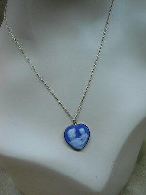 Vintage 1980's Tru-Kay Gold Filled Blue & White Cameo Mother & Child Necklace!