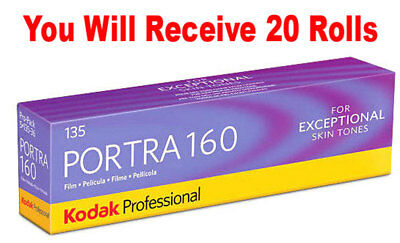 20 Rolls Kodak Portra 160 35mm Film 135-36 ISO 160 Color Negative FRESH 07/2020