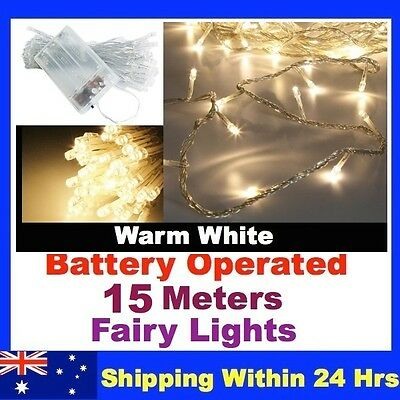 15M Battery Operated String Fairy Lights WARM WHITE New xmas