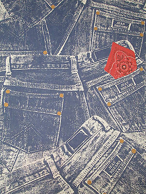 Vintage Double Full Flat Sheet Blue Jean Dreams Cotton Jeans Red Handkerchief