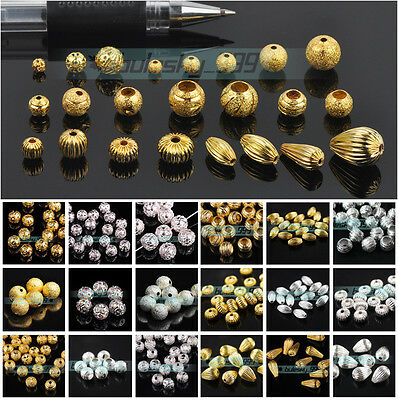 4mm 5mm 6mm 8mm 10mm 12mm Gold/Silver Metal Loose Spacer Beads Jewelry Making