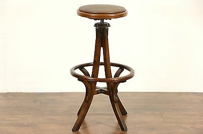 Oak 1920 Antique Swivel Architect or Drafting Stool, Leather Seat