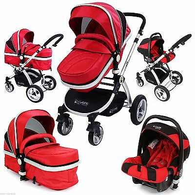 iSafe Baby Luxury Pram Travel System 3 in 1 Red + Car Seat,