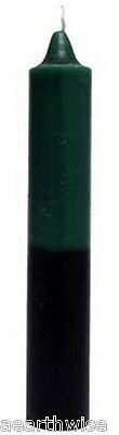 DOUBLE ACTION JUMBO PILLAR 228 mm GREEN & BLACK Wicca Witch Pagan Spells