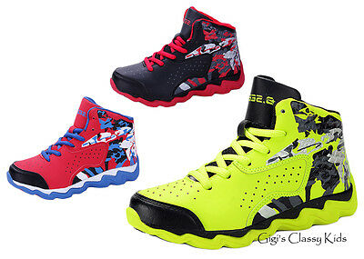 New Boys Basketball Ankle High Top Sneakers Tennis Shoes Kids Youth Athletic