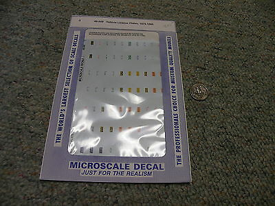 Microscale  decals O 48-509 Vehicle license plates 1975-85  D35