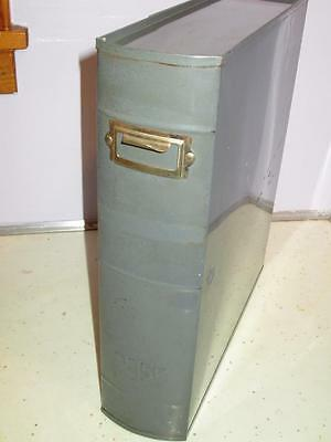 Vintage Mid Century Asco Industrial Document Ledger Box For Bookshelf