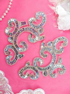 0242 Sequin Beaded Appliques Silver Holographic Mirror Pair Patch 6""