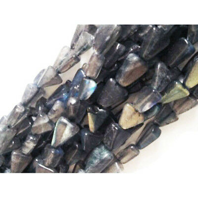 40+ Grey Labradorite Approx 6 x 7mm-7 x 11mm Handcut Triangle Beads DW1635