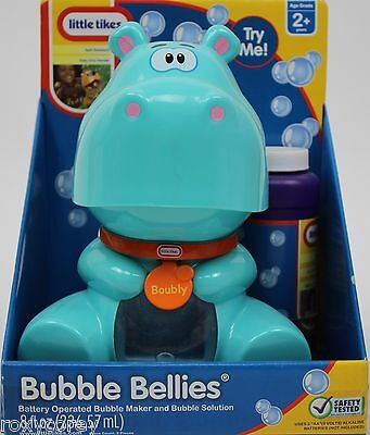 Little Tikes Blue Hippo Bubble Bellies Battery Operated Bubble Maker & Solution