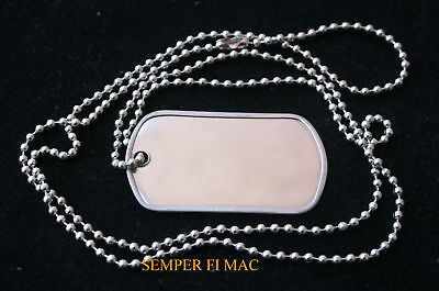Authentic Blank Dog Tag W Chain Made In Us Army Veteran Gift Pin Up Necklace Wow