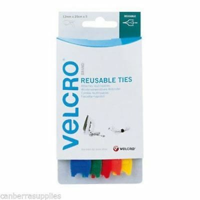 Velcro 60250 Adjustable Wire Cable Ties 12Mm X 20Cm Multi Coloured X 5