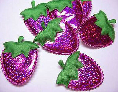 50 Hot Pink Padded Shiny Strawberry Cardmaking Appliques