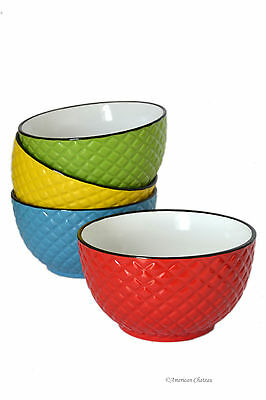 Set 4 Large Assorted Colorful 22oz Diamond Embossed 2-Tone Soup Cereal Bowls