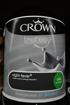 Crown Silk Dark Grey Emulsion Paint For Walls & Ceilings Night Fever