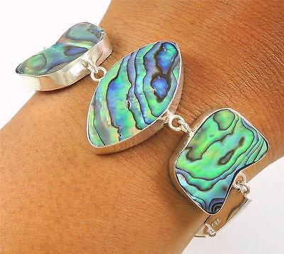Natural Abalone Shell 925 Sterling Silver Chain Bracelet Women Jewelry SA064