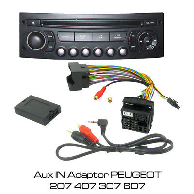 PEUGEOT 207 407 307 607 MP3 iPOD iPHONE AUX IN ADAPTOR CTVPGX011