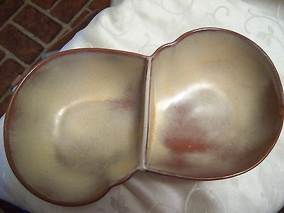 Frankoma Free form DOUBLE CANDY SERVING DISH Desert Gold