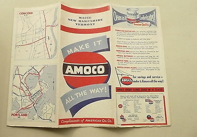 1946 Maine New Hampshire Vermont road   map Amoco Oil gas