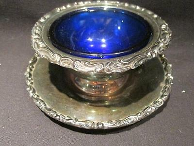 Marlboro Plate Vintage Bowl with Attached Base and Cobalt Insert EP Copper 172