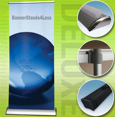 "33x79"" DELUXE Retractable Roll Up Trade Show Display Banner Stand, Free Printing"